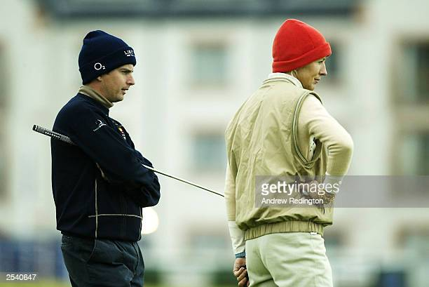 Peter Lawrie of Ireland and Marie Jordan wife of Eddie Jordan on the 16th hole during the third round of the Dunhill Links Championship on September...
