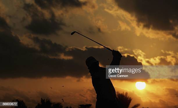 Peter Lawrie of Ireland in action during practice for the Abu Dhabi Golf Championship on the National Course at Abu Dhabi Golf Club on January 16,...