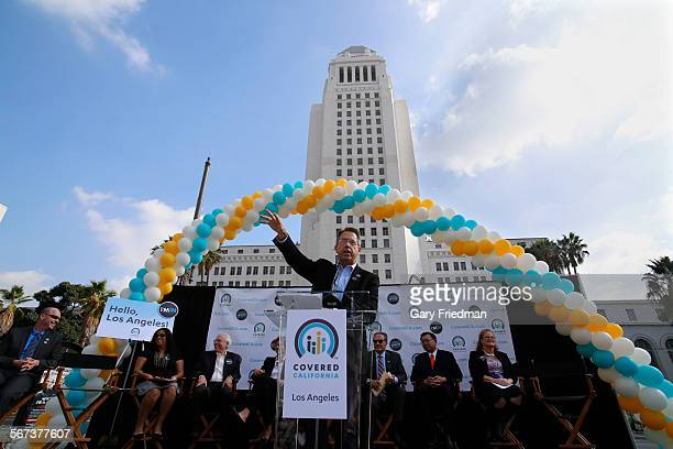 LOS ANGELES CALIFORNIA NOVEMBER 14 2014 Peter Lee Executive Director of Covered California speaks during a press conference/bus tour at Grand Park in...