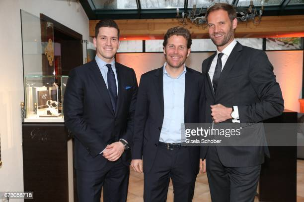 Peter Leuschner Brand Manager Deutschland Glashuette Original Philip Greffenius Edition Sportiva and Marc Autmaring during the piano night hosted by...