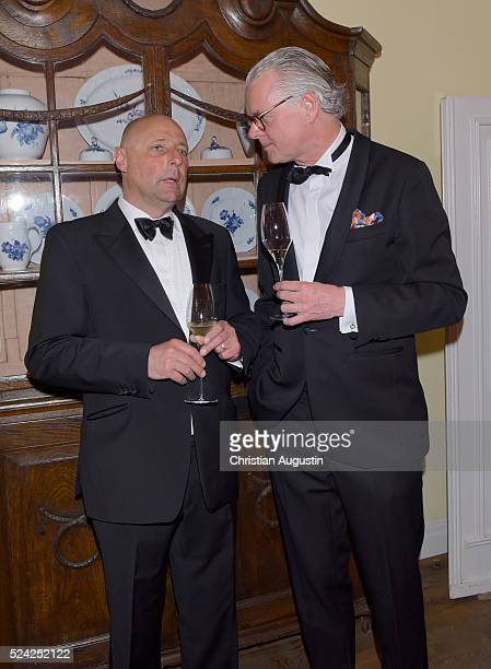 Peter Lewandowski and Jost Deitmar attend the 'Champagnepreis fuer Lebensfreude' at Hotel Louis C Jacob on April 25 2016 in Hamburg Germany