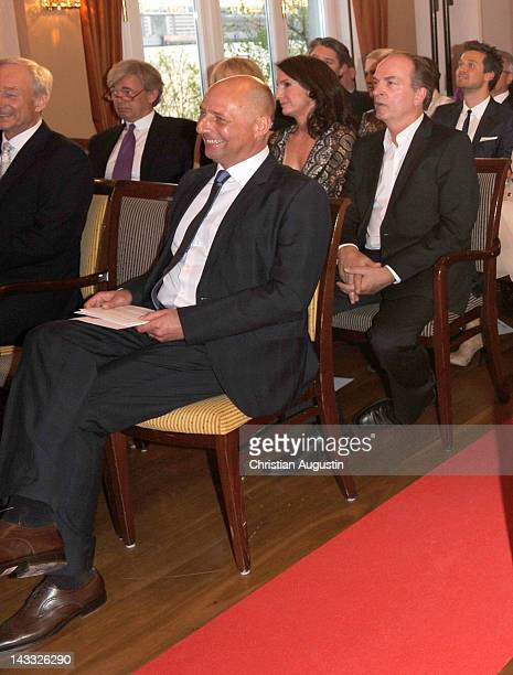 Peter Lewandowski Herbert Knaup and wife Christiane attend honouring ceremony of Couple of the year at Hotel Louis C Jacob on April 23 2012 in...