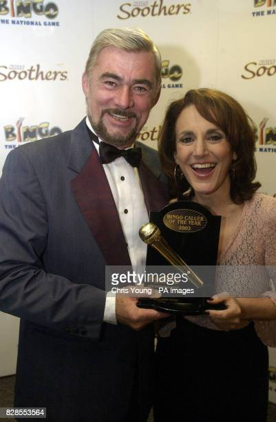 Peter Lewis from the Castle Bingo in Cardiff receives the Bingo Caller of the Year Award from actress Lesley Joseph at the Mecca Bingo in Wandsworth...