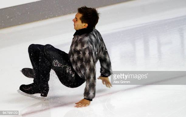 Peter Liebers falls during the men's free skating at the German Figure Skating Championships 2010 at the SAP Arena on December 18 2009 in Mannheim...