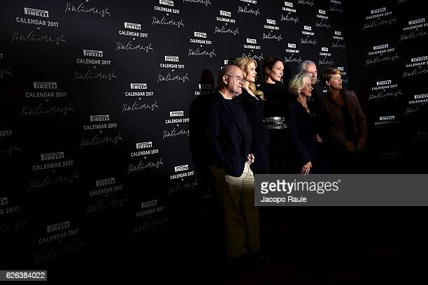 "Peter Lindberg, Nicole Kidman, Uma Thurman, Helen Mirren and Marco Tronchetti Provera attend ""Pirelli Calendar 2017 by Peter Lindberg"" Press..."