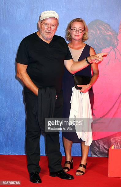 Peter Lindbergh and Petra Sedlaczek attend the premiere of 'Franca Chaos And Creation' during the 73rd Venice Film Festival at Sala Giardino on...