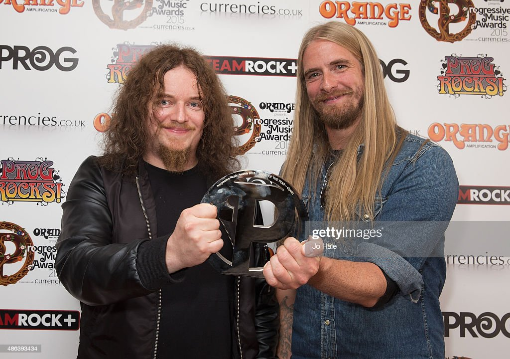 Peter Lindgren and Mikael Akerfeldt of Opeth win Award for Band of the Year at Underglobe on September 3, 2015 in London, England.