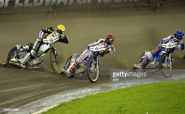 Peter Ljung of Sweden Tomasz Gollob of Poland and Nicki Pedersen of Denmark compete during the FIM Speedway Grand Prix in Torun on October 6 2012 AFP...