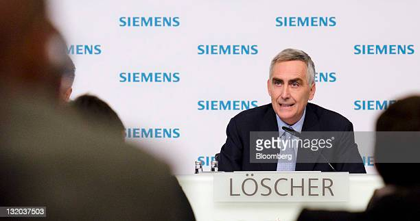Peter Loescher chief executive officer of Siemens AG speaks during a news conference in Munich Germany on Thursday Nov 10 2011 Siemens AG Europe's...