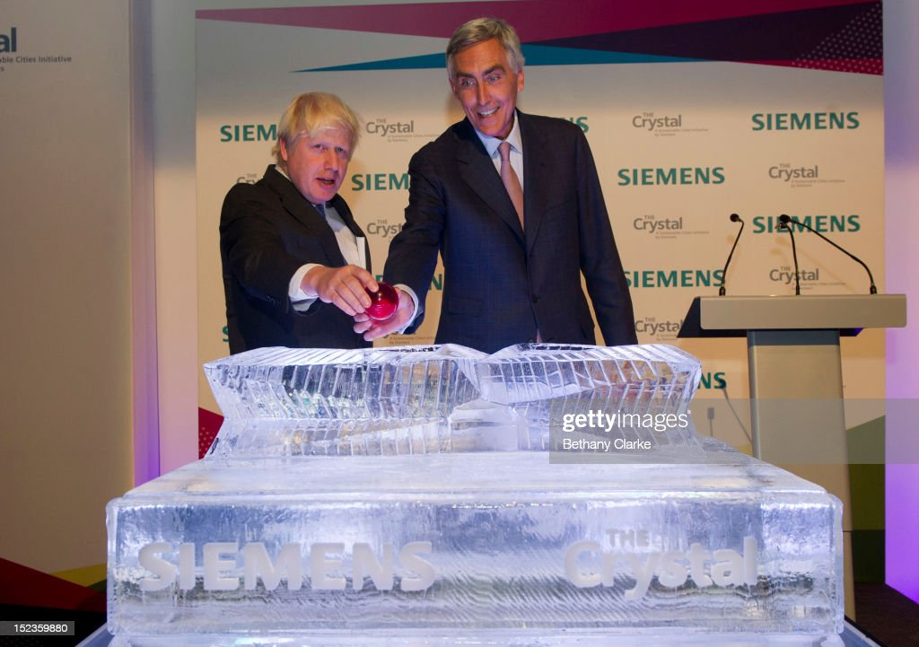The Crystal Is Opened By Siemens CEO Peter Loscher And Mayor Of London Boris Johnson