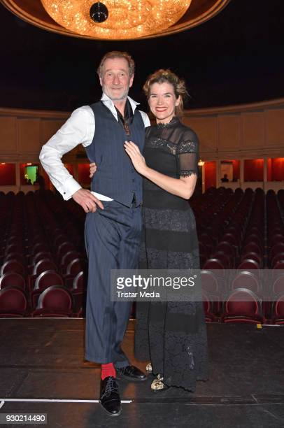 Peter Lohmeyer and Anke Engelke attend the premiere 'Der Entertainer' on March 10 2018 in Berlin Germany