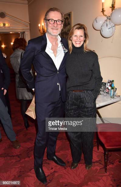 Peter Lohmeyer and Leslie Malton attend the premiere 'Der Entertainer' on March 10, 2018 in Berlin, Germany.