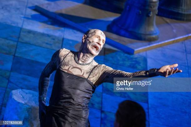 """Peter Lohmeyer as """"Tod"""" performing on stage during the outdoor TV and press rehearsal of the production """"Jedermann"""" at Domplatz on July 29, 2020 in..."""