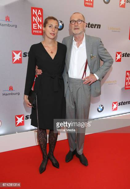 Peter Lohmeyer with girlfriend Leonie during the Henri Nannen Award red carpet arrivals on April 27 2017 in Hamburg Germany