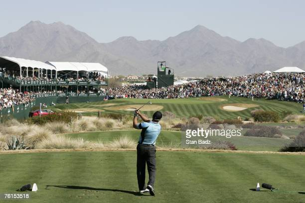 Peter Lonard at the 16th hole during the third round of the FBR Open held at TPC Scottsdale in Scottsdale Arizona on February 3 2007 Photo by Stan...