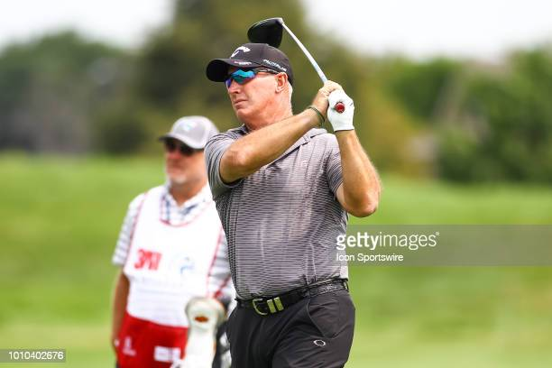 Peter Lonard hits his tee shot on the first hole during the first round of the 3M Championship on August 3 2018 at TPC Twin Cities in Blaine Minnesota
