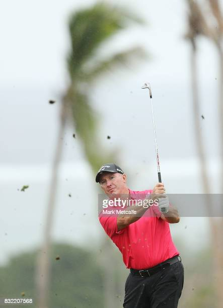 Peter Lonard of Australia hits an approach shot during the proam ahead of the 2017 Fiji International at Natadola Bay Championship Golf Course on...