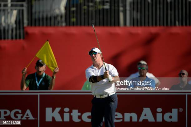 Peter Lonard of Australia hits his tee shot on the 17th hole during Round One for the 79th KitchenAid Senior PGA Championship held at Harbor Shores...