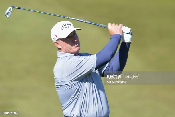 Peter Lonard of Australia plays a shot during day two of the New Zealand Open at The Hills on March 10 2017 in Queenstown New Zealand