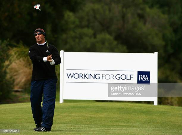 Peter Lonard of Australia plays a shot on the 4th hole during day Two of the British Open International Final Qualifying Australasia at Kingston...