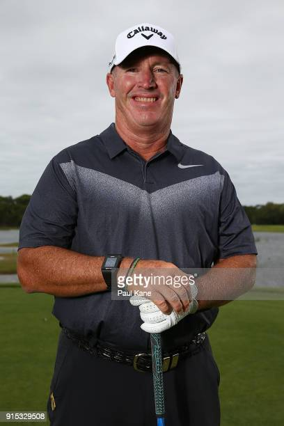 Peter Lonard of Australia poses during the proam ahead of the World Super 6 at Lake Karrinyup Country Club on February 7 2018 in Perth Australia