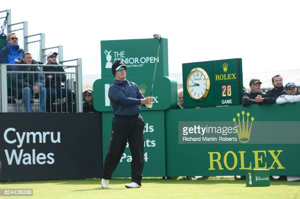 Peter Lonard of Australia tees off on the 1st hole during the final round of the Senior Open Championship presented by Rolex at Royal Porthcawl Golf...