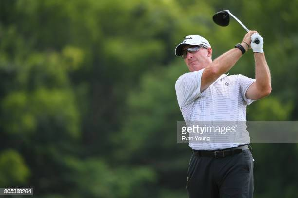 Peter Lonard tees off on the 18th hole during the third round of the Webcom Tour Nashville Golf Open Benefitting the Snedeker Foundation at Nashville...