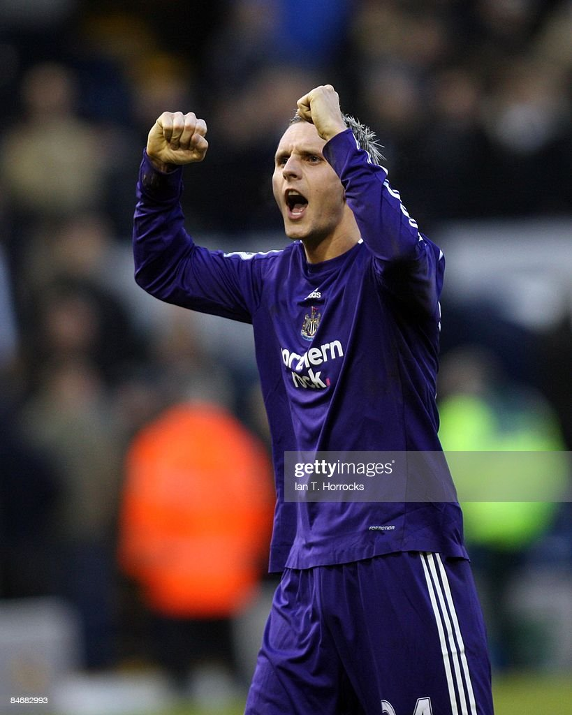 Peter Lovenkrands celebrates during the Barclays Premier League game between West Bromwich Albion and Newcastle United at the Hawthorns on February 07, 2009, in West Bromwich, England. (Photo by Ian Horrocks/Newcastle United via Getty Images) Newcastle-upon-Tyne, England.