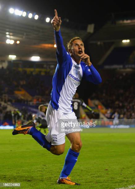 Peter Lovenkrands of Birmingham City celebrates scoring their third goal during the Capital One Cup Fourth Round match between Birmingham City and...