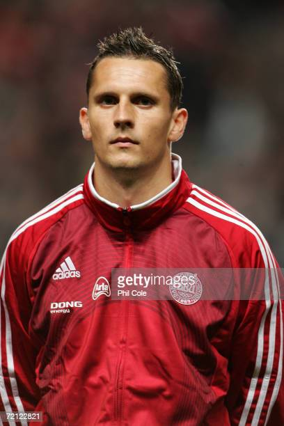 Peter Lovenkrands of Denmark looks on prior to the Euro 2008 group F qualifier between Denmark and Northern Ireland at the Parken Stadium on October...