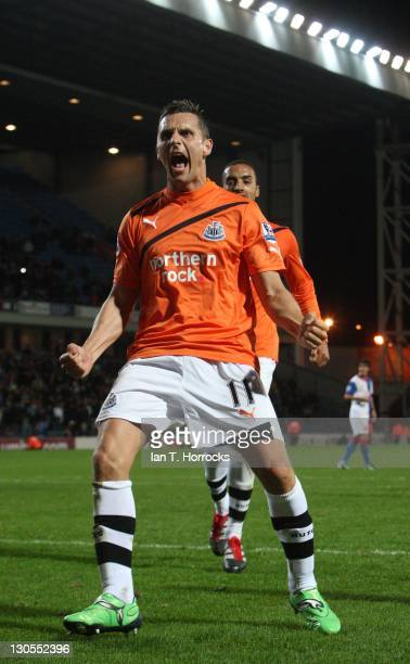 Peter Lovenkrands of Newcastle celebrates scoring the third Newcatle goal during the Carling Cup fourth round match between Blackburn Rovers and...