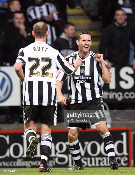 Peter Lovenkrands of Newcastle United celebrates with Nicky Butt after the third his hattrick goal during the FA Cup sponsored by EON 3rd round...