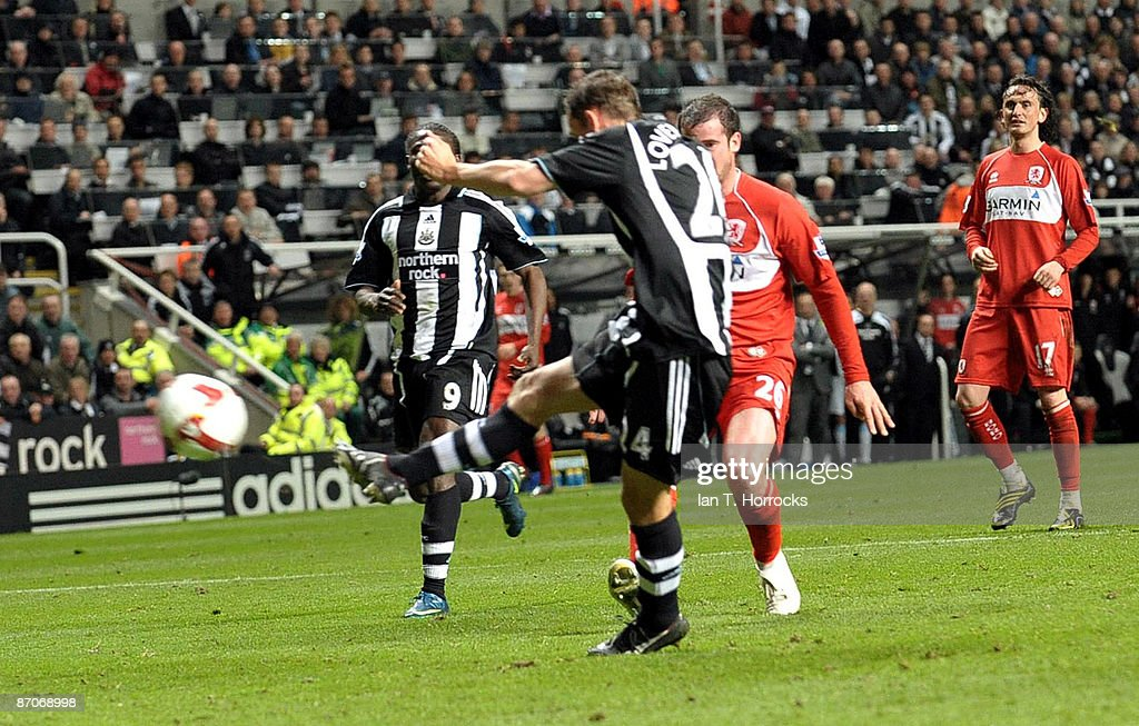 Peter Lovenkrands #24 of Newcastle United scores the 3:1 goal during the Barclays Premier League match between Newcastle United and Middlesbrough at St James' Park on May 11, 2009 in Newcastle Upon Tyne, England.