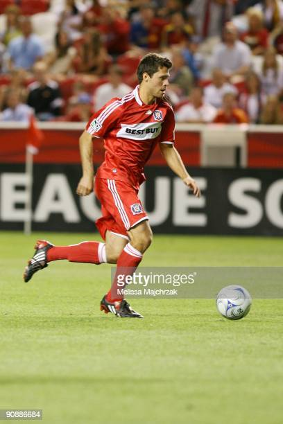 Peter Lowry of Chicago Fire kicks the ball against the Real Salt Lake at Rio Tinto Stadium on September 12 2009 in Sandy Utah