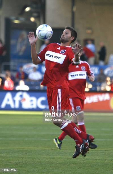 Peter Lowry of the Chicago Fire handles the ball against the Colorado Rapids during the second half at Toyota Park on August 23 2009 in Bridgeview...