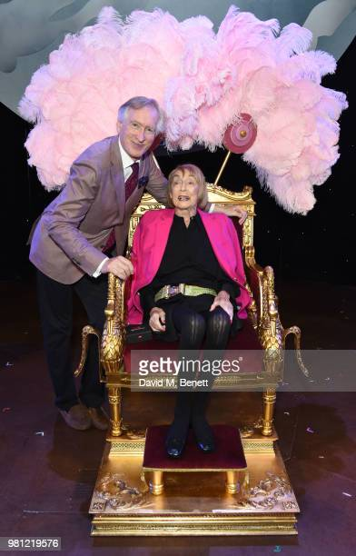 Peter Lynne and Dame Gillian Lynne attend renaming of the New London Theatre to the Gillian Lynne Theatre on June 22 2018 in London England