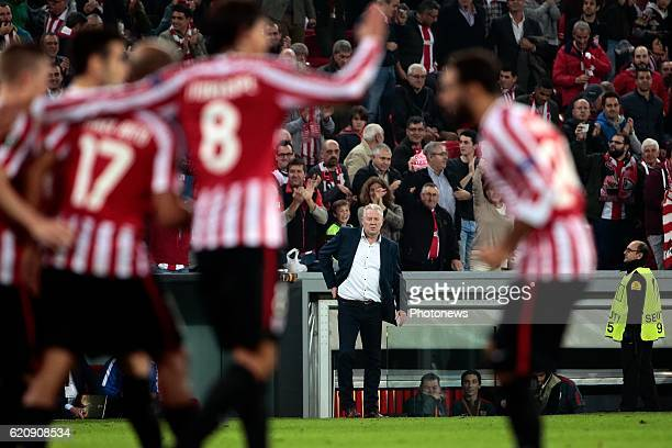 Peter Maes head coach of KRC Genk looks dejected pictured during the UEFA Europa League group F stage match between Athletic Club de Bilbao and KRC...