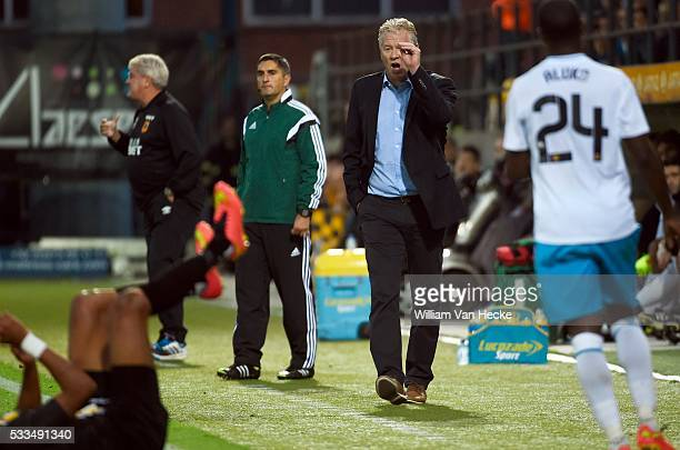 Peter Maes head coach of Sporting Lokeren in action during the UEFA Europa League Qualifying Play-Off First Leg match between KSC Koninklijke...