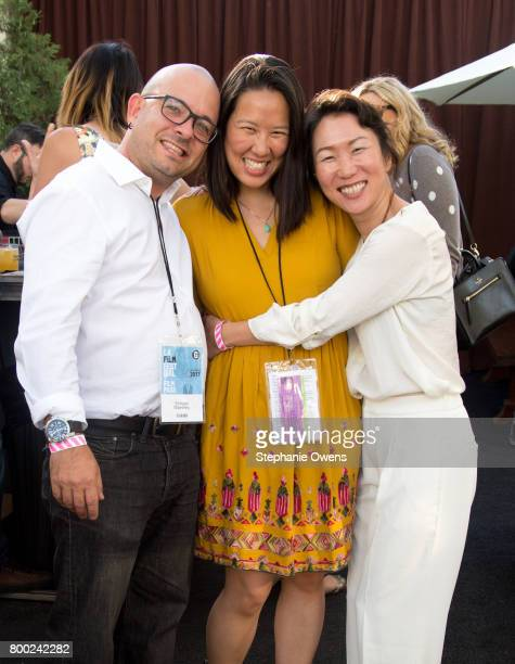 Peter Maestrey Angela Lee Hikari attend the Fast Track Happy Hour during the 2017 Los Angeles Film Festival on June 21 2017 in Culver City California