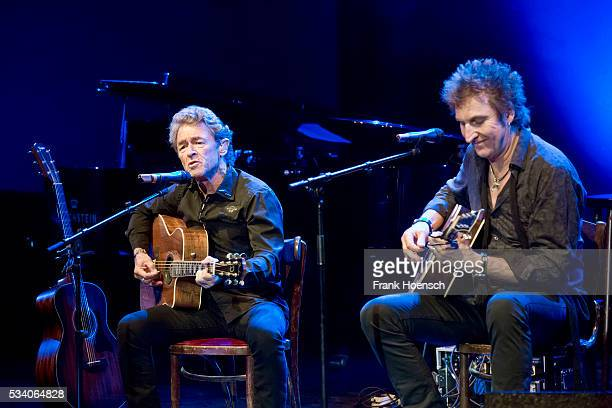 Peter Maffay and Carl Carlton perform live during a tribute concert to Bob Dylan at the Wintergarten on May 24, 2016 in Berlin, Germany.