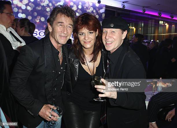 Peter Maffay Andrea Berg and Klaus Meine of the band Scorpions attend the after show party to the Echo award 2010 at the Messe Berlin on March 4 2010...