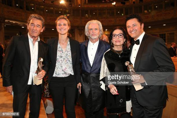 Peter Maffay Britta Heidemann Hermann Buehlbecker CEO Lambertz Nana Mouskouri and Piotr Beczala with award during the European Culture Awards TAURUS...