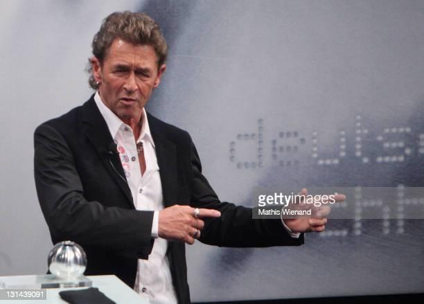 Peter Maffay speaks after accepting his Nachhaltigkeitspreis award during the Nachhaltigkeitspreis Gala at Maritim Hotel on November 4 2011 in...