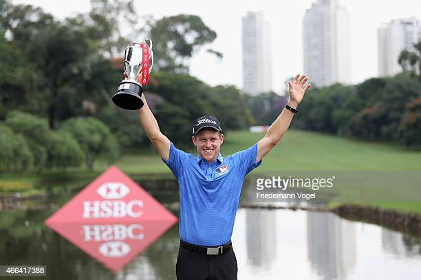 Peter Malnati of the USA celebrates after winning the 2015 Brasil Champions Presented by HSBC at the Sao Paulo Golf Club on March 15 2015 in Sao...