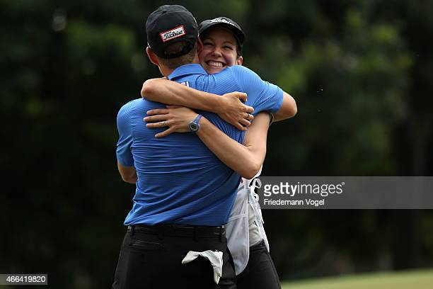 Peter Malnati of the USA celebrates with his wife and caddie Alicia after winning the 2015 Brasil Champions Presented by HSBC at the Sao Paulo Golf...