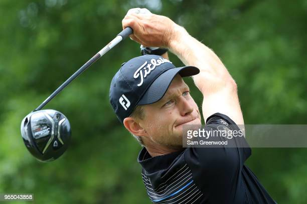 Peter Malnati plays his tee shot on the second hole during the third round of the 2018 Wells Fargo Championship at Quail Hollow Club on May 5 2018 in...
