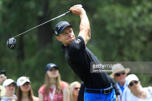 Peter Malnati plays his tee shot on the third hole during the third round of the 2018 Wells Fargo Championship at Quail Hollow Club on May 5 2018 in...