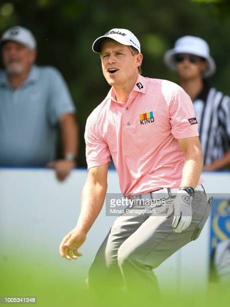 Peter Malnati reacts after hitting a tee shot from the seventh during the practice rounds at the RBC Canadian Open at Glen Abbey Golf Club on July 25...