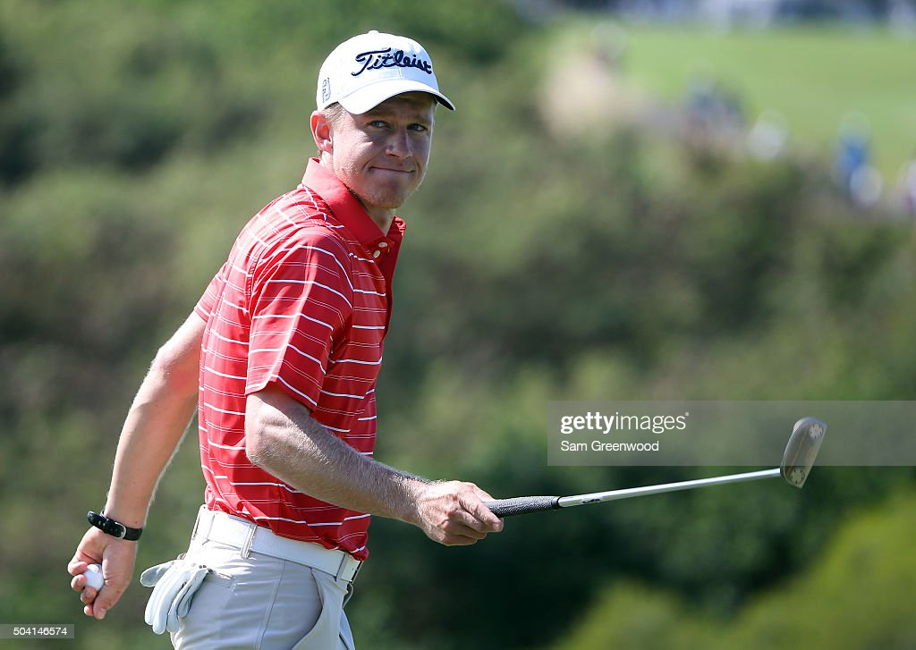 Peter Malnati reacts on the ninth green during round two of the Hyundai Tournament of Champions at the Plantation Course at Kapalua Golf Club on January 8, 2016 in Lahaina, Hawaii.