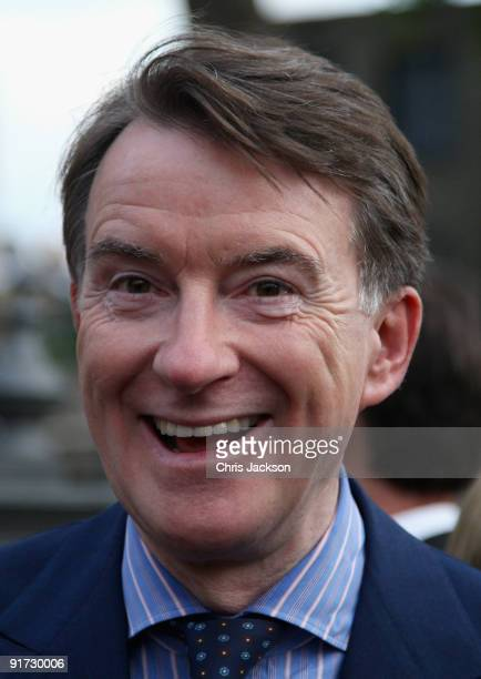 Peter Mandelson leaves the wedding of Charles Dunstone and Celia Gordon Shute at Christ Church Spitalfields on October 10 2009 in London England